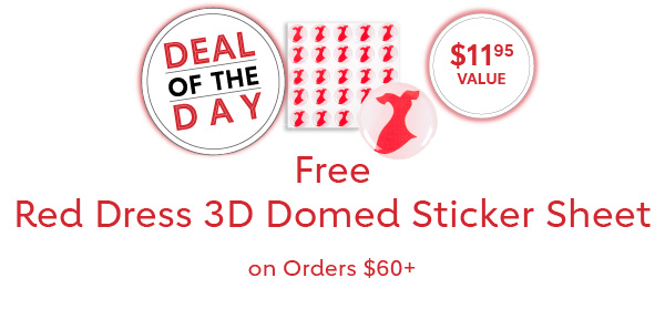 Free 3D Red Dress Domed Sticker Sheet on Orders $60+